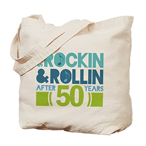 Cafepress –�?0th anniversary Rock n Roll – Borsa di tela naturale, tessuto in iuta