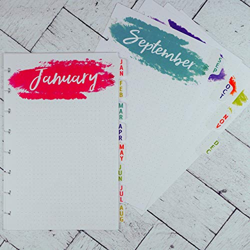 Tabbed Monthly Planner Dividers for Disc-bound Junior Staples Arc ()