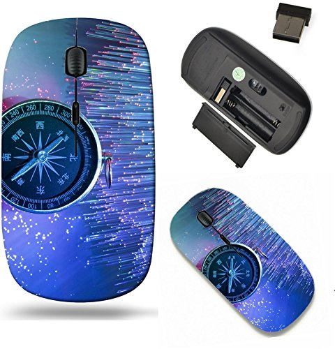 Scroll Opt - Liili Wireless Mouse Travel 2.4G Wireless Mice with USB Receiver, Click with 1000 DPI for notebook, pc, laptop, computer, mac book Compass on fiber optic background Photo 20890122
