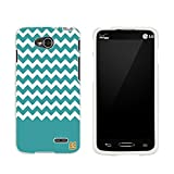 Slim Light Weight 2 piece Snap On Non-Slip Matte Hard Design Rubber Coated Rubberized Case With Premium Protection For LG Optimus W7 D415/ L90/ VS450 (T-mobile,Verizon,Sprint,International) - Teal Chevron - White