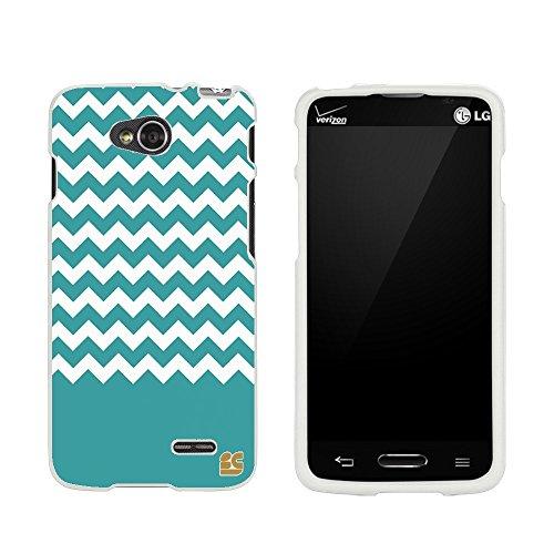 Slim Light Weight 2 piece Snap On Non-Slip Matte Hard Design Rubber Coated Rubberized Case With Premium Protection For LG Optimus W7 D415/ L90/ VS450 (T-mobile,Verizon,Sprint,International) - Teal Chevron - White (Lg Tmobile L90)