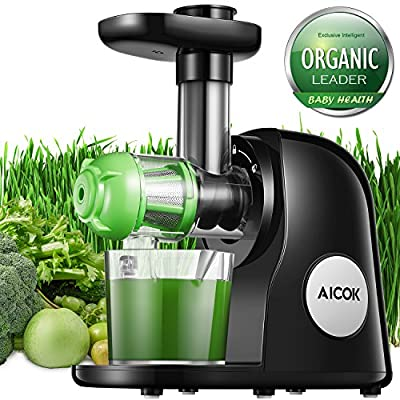 Juicer Slow Masticating Juicer Extractor, Aicok Cold Press Juicer Machine, Quiet Motor and Reverse Function, with Juice Jug and Brush to Clean Conveniently, High Nutrient Fruit and Vegetable Juice