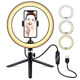 """10"""" Selfie Ring Light with Tripod Stand & Cell Phone Holder, LATZZ Dimmable Desktop LED Lamp Camera Ringlight for Live Stream/Makeup/YouTube Video/Photography"""