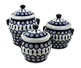 Polish Pottery Peacock Canister Set