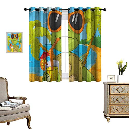 - Warm Family Turtle Patterned Drape for Glass Door Cool Sea Turtle with Sunglasses Drinking Cocktail at The Beach Cartoon Waterproof Window Curtain W63 x L72 Green Orange Pale Blue