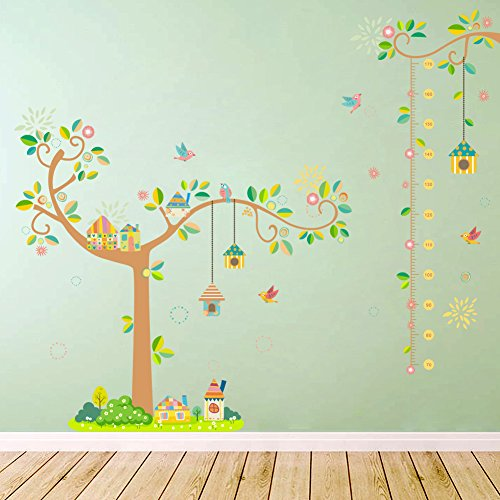 Amaonm Hot Fashion Birds Home Nest Cartoon tree Branches & Kids Growth Height Measurement Chart Wall Decals Stickers Wallpaper Removable DIY home Decorations art Decor for Bedroom Nursery School
