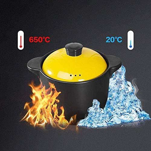 UWY Marmite à ragoût Pots de Cuisson en Terre Cuite Pots en Terre Cuite pour la Cuisson du spodumène Australien, Noir, 2,5L / 3,2L /3,8L/4,5L/5/6,8/7,8L-2,5L