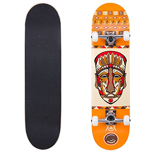 "Cal 7 Complete Skateboard, Popsicle Double Kicktail Maple Deck, 31 Inches, Perfect for All Skate Styles in Various Graphic Designs (8"" Tribal)"