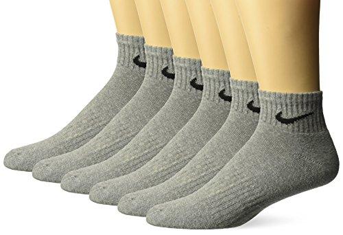 nce Cushion Quarter Socks with Bag (6 Pairs), Dark Grey Heather/Black, Medium ()
