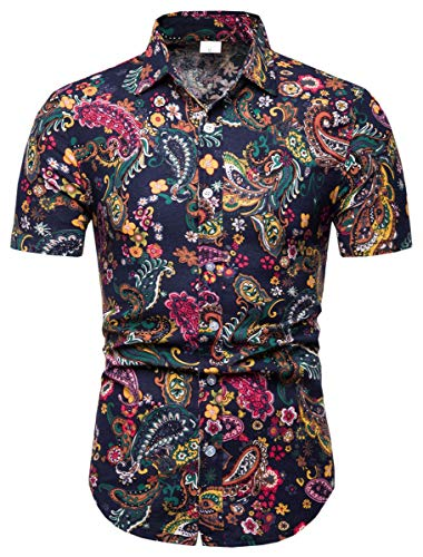 Men's Paisley Shirt, Paisley Print Button Down Short Sleeve Floral Shirt for Men, 113#Color, US Large(Slim Fit) = Tag 2XL