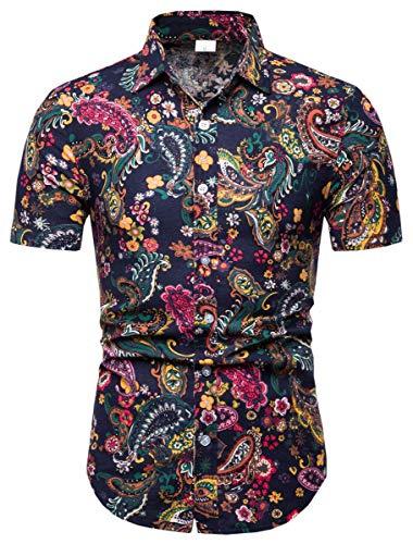 Men's Paisley Shirt, Paisley Print Button Down Short Sleeve Floral Shirt for Men, 113#Color, US Large(Slim Fit) = Tag - Print Shirts Paisley