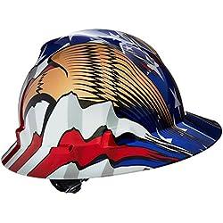 MSA (Mine electrodomésticos de seguridad) 10071159V-Gard serie Freedom clase E tipo I sombrero duro con Fast-Track Suspensión y bandera americana con 2Eagles