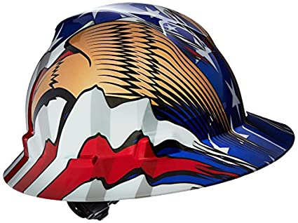 MSA (Mine Safety Appliances) 10071159 V-Gard Freedom Series Class E Type I Hard Hat with Fast-Track Suspension and American Flag with 2 Eagles