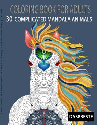 Coloring book for adults 30 complicated mandala animals Colouring books for adults ebay