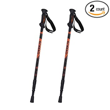 Delightful Enkeeo 2 Pack Hiking Walking Trekking Poles Ultralight Collapsible Trail Walking  Stick With Durable Aluminum,