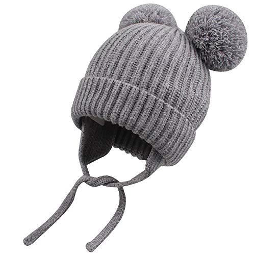 XIAOHAWANG Warm Baby Hats Boys Girls Cute Pom Pom Toddler Winter Beanies Kids Knit Caps Infant Christmas (D-Grey, S(2-8 Months))