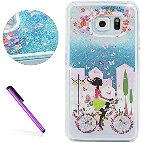 S7 Edge Case,ISADENSER 3D Glitter Flowing Liquid Floating Quicksand Moving Hard Protective Case for Samsung Galaxy S7 Edge + 1 Stylus Pen Blue Bicycle girl Sales