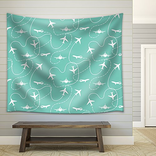 Vector Travel Around the World Airplane Routes Seamless Pattern Fabric Wall Tapestry