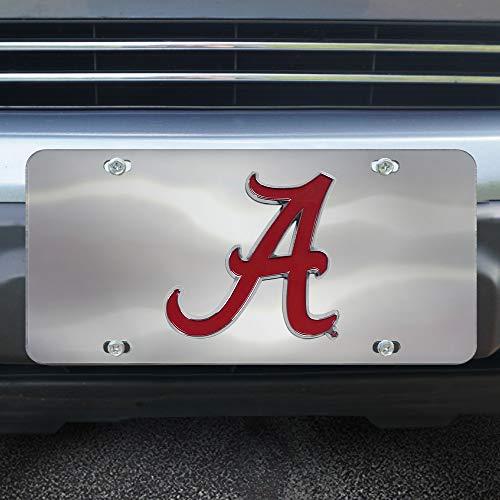 (Fanmats NCAA Alabama Crimson Tide Die Cast License Platedie Cast License Plate, Chrome, 6