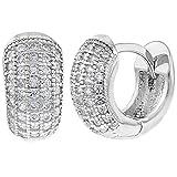 "925 Sterling Silver Clear CZ Small Wide Huggie Hoop Earrings 0.31"""