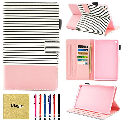 Fire HD 8 Case, Case for Kindle Fire HD8, Dluggs Slim Fit Folio Stand Smart Cute Pattern Wallet Case with Auto Wake/Sleep Feature for All-New Amazon Fire HD 8 Inch Tablet, Stripe
