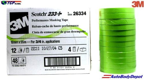 Price comparison product image 3M 26334 Scotch 3 / 4 Inch Performance Masking Tape Sleeve of 12 Rolls,  Green