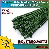 Serre câble 200 pièces liens verte 200 x 4,8 mm qualité industrielle / Produit en Europe