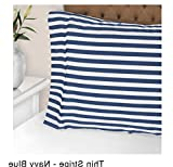 2 Piece Navy Blue White Stripe Pattern Standard Size Pillowcase Set, Beautiful Thin Geometric Lines Print Pillow Covers Rugby Stripe-Inspired Design, Solid Colors, Casual Style, Wrinkle Free, Cotton