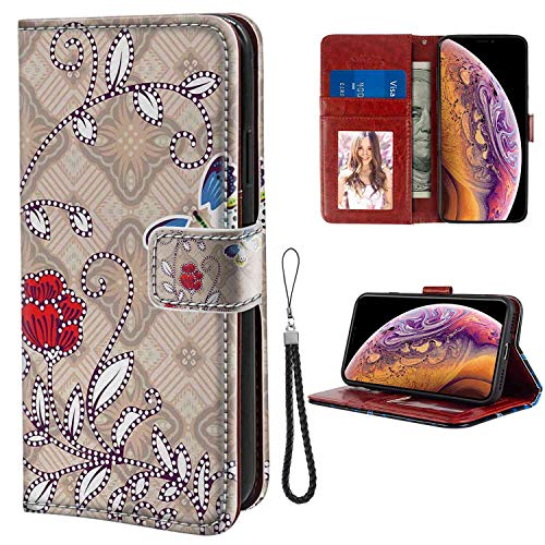 mophinda Phone Wallet Case Fit Apple iPhone Xs Max (6.5inch) Batik,Flower Body with Curved Branch and Butterflies on Retro Background Graphic Print,Multicolor Keather