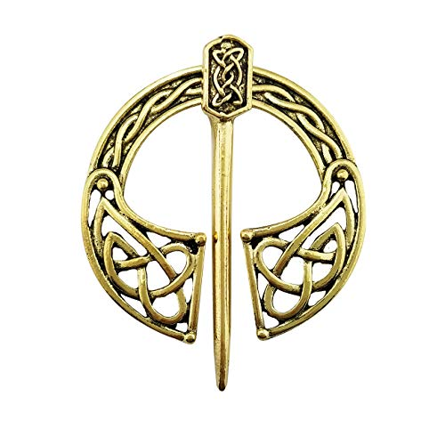 - XGALA Vintage Style Pin Clasp Clothes Cloak Pin Celtic Shawl Scarf Brooch Yellow Gold Color for Women and Girls
