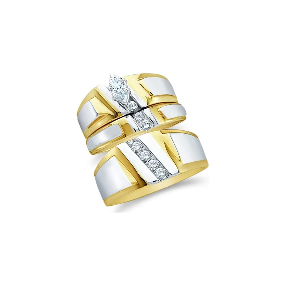 10k Yellow and White 2 Two Tone Gold Mens and Ladies Couple His & Hers Trio 3 Three Ring Bridal Matching Engagement Wedding Ring Band Set   Marquise and Round Diamonds   Solitaire Center Setting (.23 cttw) Jewelry
