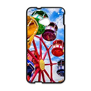 Diy The Ferris Wheel Phone Case for HTC One M7 Black Shell Phone JFLIFE(TM) [Pattern-1]