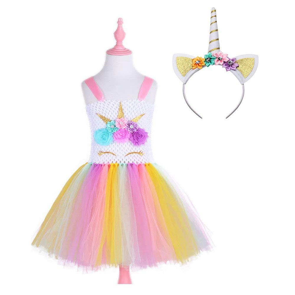Rainbow Unicorn Princess Girls Tutu Dress with Headband Children Kids Party Dresses Flower Tulle Dress