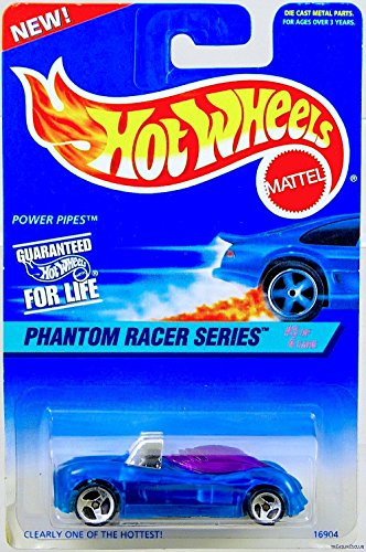 - Mattel Hot Wheels 1997 Power Pipes Diecast Vehicle Collector #531 Phantom Racer Series 3 of 4 | Clear Blue Body Purple Tinted Windows Chrome Metal Car Base Synthetic Rubber 3 Spoke Wheels Model #16904