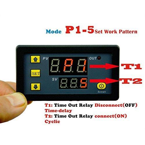 Whitelotous DC12V 20A 1500W Timing Timer Digital Display Time Delay Cycling Module