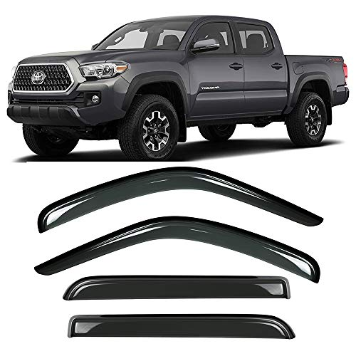 Gevog 4-Piece Side Window Deflector Original Window Visors for 16-19 Toyota Tacoma Crew Cab (Double Cab) Sun Rain Guard Ventvisor 94768