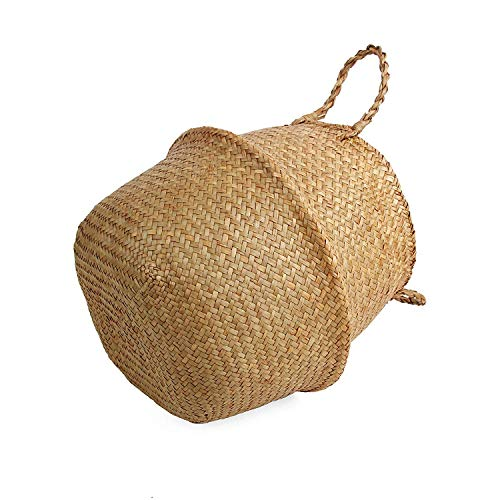 BlueMake Woven Seagrass Belly Basket for Storage Plant Pot Basket and Laundry, Picnic and Grocery Basket (Small, Original)