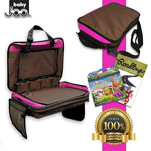 A Must Have For Children Activities While Travelling by Car Kids Travel Tray for Car Seat 5-in-1 Toddler Snack Tray Tablet Holder Lap Desk Storage Organizer and Carry All Bag Train and Airplane
