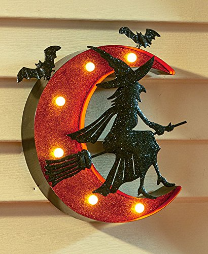 Halloween Witch Sign - Halloween Glittery Witch Marquee Sign with on/off Switch Battery Operated - Flying Witch on Broomstick with Crescent Moon