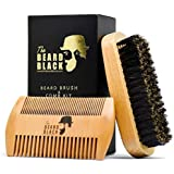 Beard Brush & Beard Comb Set for Men - Natural Boar Bristle Beard Brush and Dual Action Pear Wood Comb, Gift Box & Friendly Velvet Travel Pouch, Beard Brush Distributes Balm Oil for Growth & Styling