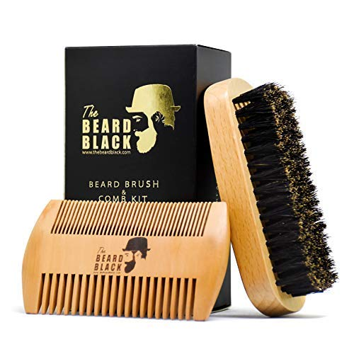 (Beard Brush & Beard Comb Set for Men - Natural Boar Bristle Beard Brush and Dual Action Pear Wood Comb, Gift Box & Friendly Velvet Travel Pouch, Beard Brush Distributes Balm Oil for Growth & Styling)