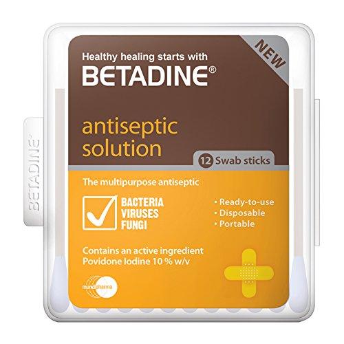 BETADINE Antiseptic Swab Sticks Antiseptic Solution kill gems effectively 12 pc
