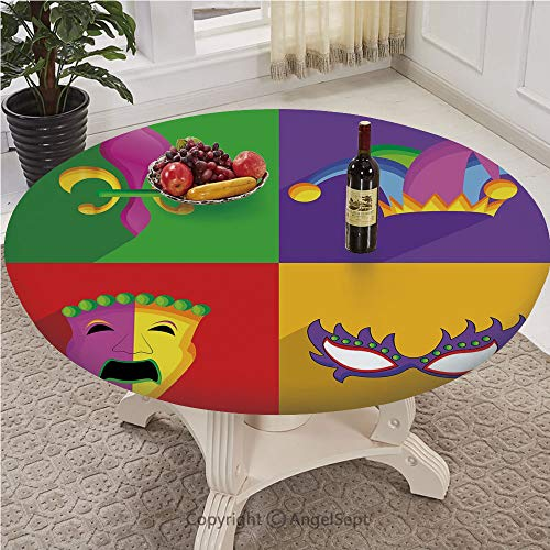 AngelSept-LJH Patterned Fitted Table Cover Durable Polyester Construction,Round,Full-Size,Mardi Gras,Colorful Frames with Mardi Gras Icons Masks Harlequin Hat and Fleur De Lis Print,Multicolor
