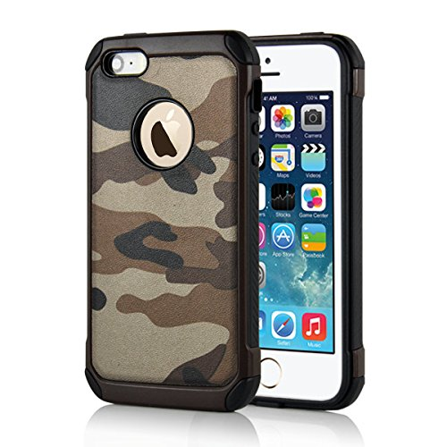 Apple iPhone SE 5 5S Handy Tasche Outdoor Case TPU Hybrid Camouflage Tarnmuster Hülle Braun