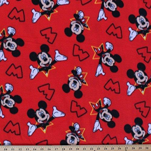 Fleece Mickey Mouse Stars Disney Kids Red Fleece Fabric Print by The Yard (cp52196-d65s)