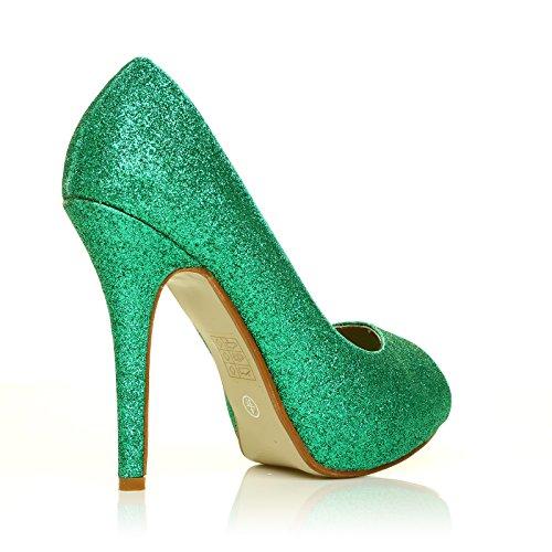 Toe de Stiletto TIA Plataforma Peep tacón alto Glitter Green FXxqx1f