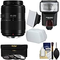 Panasonic Lumix G Vario 45-200mm f/4-5.6 II Power OIS Zoom Lens with 3 Filters + Flash & 2 Diffusers + Kit