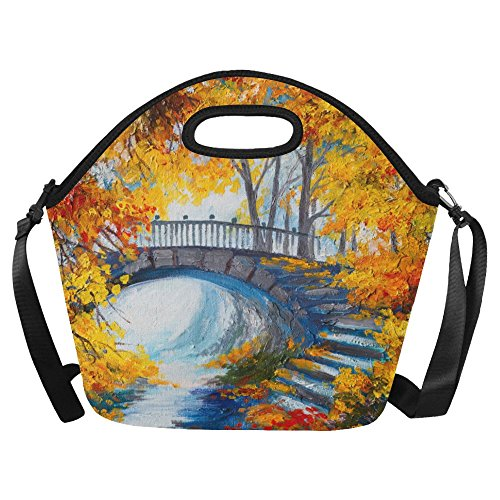 Gogogosky Autumn Forest With A Road And Bridge Lunch Bag Lunch Tote Box with Detachable Adjustable Strap