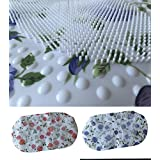 PVC FLORAL SHOWER MAT BATH MAT BATHROOM ANTI NON SLIP SUCTION CUPS SHOWER ROOM (Purple/Blue Flowers) by Fi-CH