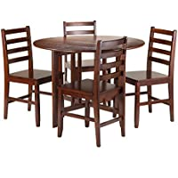 Winsome 5-Piece Alamo Round Drop Leaf Table with 4 Hamilton Ladder Back, Brown